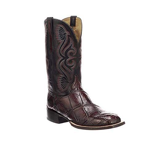 (Lucchese Men's Roy Black Cherry/Black Giant Gator Horseman Boots - Square Toe (CL1071.WF))