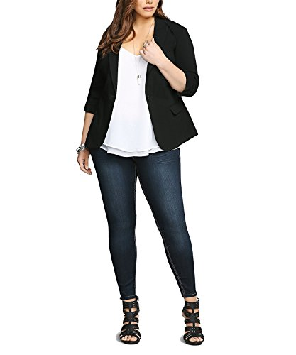 Damen Blazer Anzug Oberteil Jacke Weste Stoffjacke Strickjacke Cardigan Stoffblazer Schwarz auch Große Größen Übergröße, Elegant Business Office Abendmode Freizeit