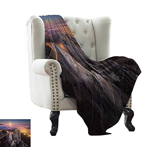 LsWOW Baby Month Blanket Americana,Night View in Ai Petri Full Moon Sunset in Alps Rocky Mountains Picture Print,Multicolor Comfortable Soft Material,give You Great Sleep 60