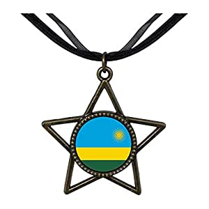 Chicforest Bronze Retro Style Rwanda flag Five Pointed Star Pendant