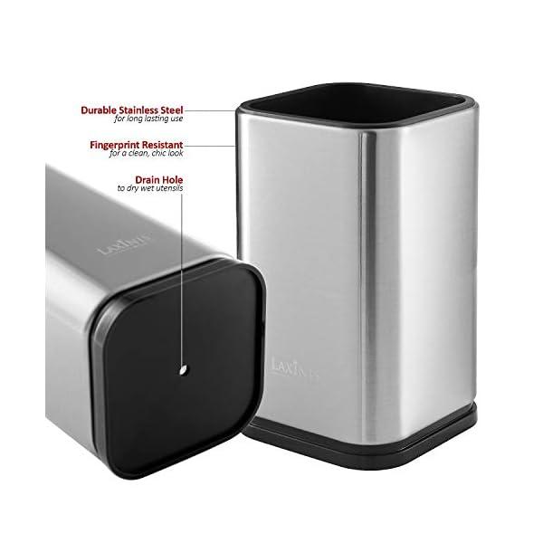 """Stainless Steel Kitchen Utensil Holder, Kitchen Caddy, Utensil Organizer, Modern Rectangular Design, 6.7"""" by 4… 4"""