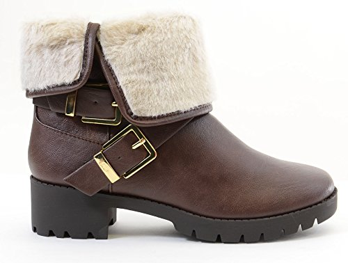 Women's Fourever Fold Vegan Over Brown Leather Boots Shearling Funky Vegan Buckle Fur Z5qr05px