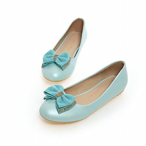 Carolbar Womens Bows Rhinestone Fashion Sweet Elegance Low Heel Loafers Dress Shoes Blue xP14pfsa