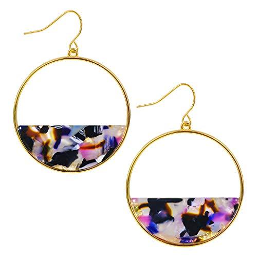 - AcrylicEarrings Circle Double Dangle Statement Earrings for Women Lightweight Resin Stud Earrings(Red) (red) (Purple)