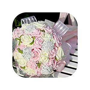 mamamoo Bouquets Artificial Flowers Wedding Romantic Wedding Brooch Bouquets Wedding Accessories,Photo Color1 93