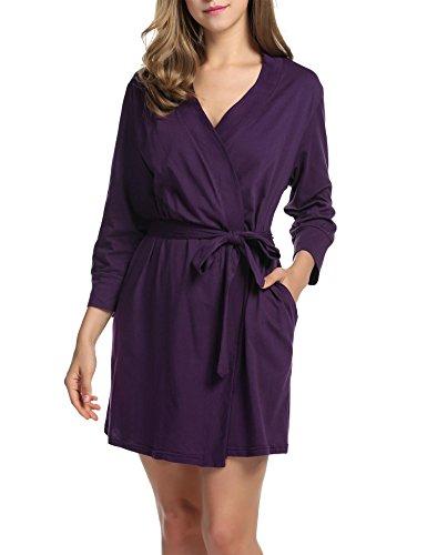 DonKap Women's Terry Cloth Bathrobe Robe Kimono Nursing Robe Purple XXL