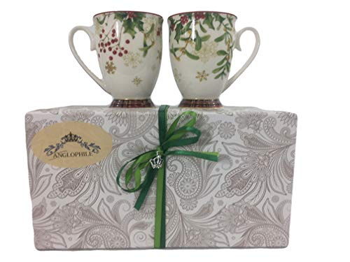 (Bone China Christmas Holiday Mug Set Of Two In Gift Box - Mistletoe Holly Plaid (Mistletoe Holly)