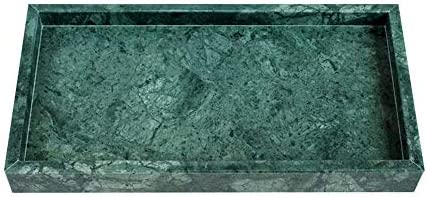 ミラートレイ 天然大理石長方形高級バニティトレイストーンオーガナイザー浴室のための 装飾トレイ (色 : 緑, Size : 28x16x3cm)