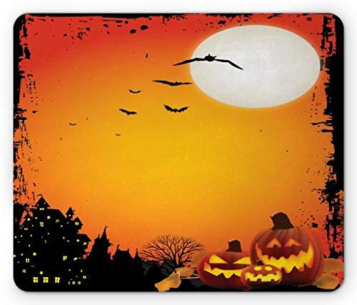 Halloween Mouse Pad, Flying Bats and Scary Smiling Pumpkins Halloween Night with Full Moon, Standard Size Rectangle Non-Slip Rubber Mousepad, Vermilion Orange Black ()