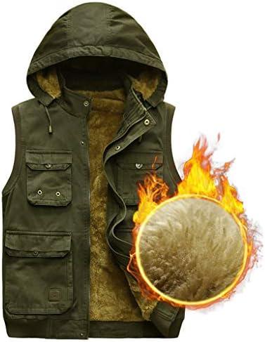 厚いベスト男性緩いプラスベルベット肥厚釣り写真屋外中年ジャケット2色 UOMUN (Color : Army Green, Size : M)