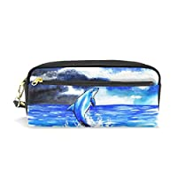 Hulahula Dolphin Leather Student Pencil Case Cosmetic Bag Pen Makeup Pouch for Girl Boy