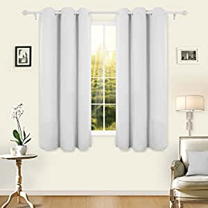 Deconovo Room Darkening Thermal Insulated Blackout Grommet Window Curtain Panel For Living Room, Greyish White, 42x63 Inch, 1 Panel