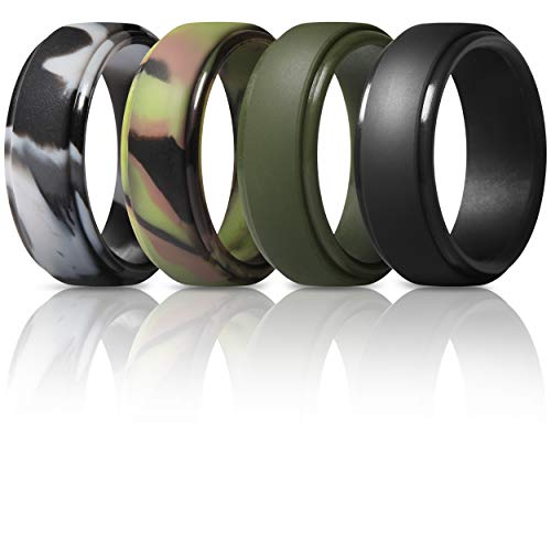 ThunderFit Silicone Rings for Men - 4 Pack Rubber Wedding Bands (Black, Grey Camo, Dark Green, Green Camo, 10.5-11 (20.6mm))