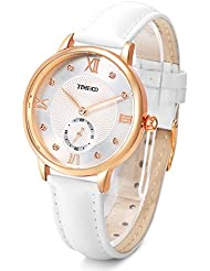 Time100 Womens Leather Band Watch Waterproof Analog Quartz Fashion Watch for Women/Ladies (White Leather)