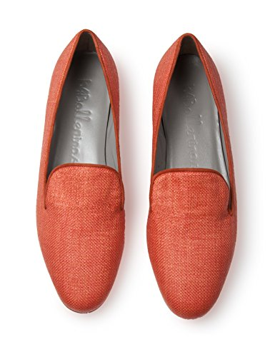 flats canvass upper raffia orange orange b4Ballerinas trim kid loafer 5taBq