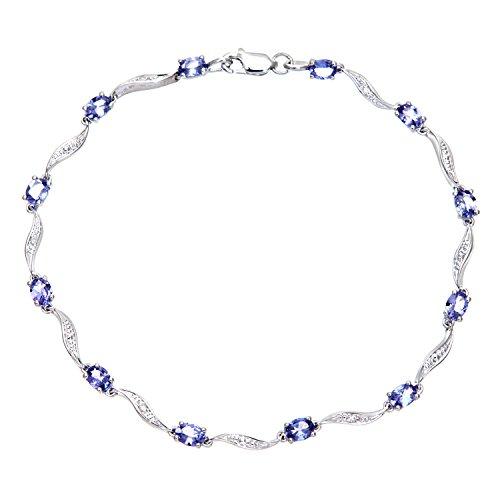 Revoni Bague en or blanc 9carats-Tanzanite et Diamant Bracelet