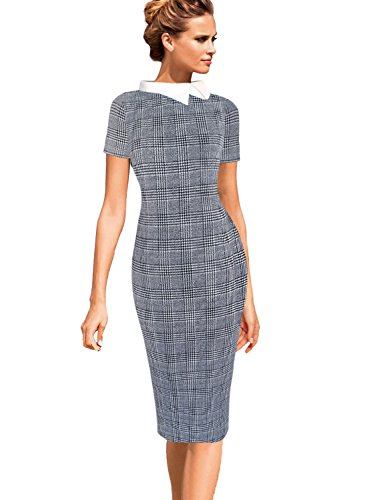 VFSHOW Womens Celebrity Black and White Glen Plaid Colorblock Lapel Work Business Office Sheath Dress 2521 TAT L