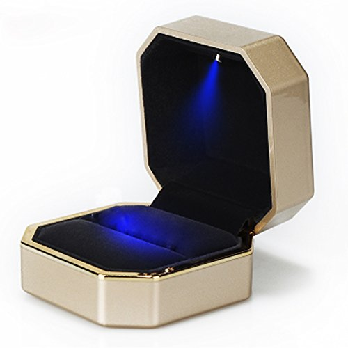 AVESON Luxury Ring Box Square Velvet Wedding Ring Case Jewelry Gift
