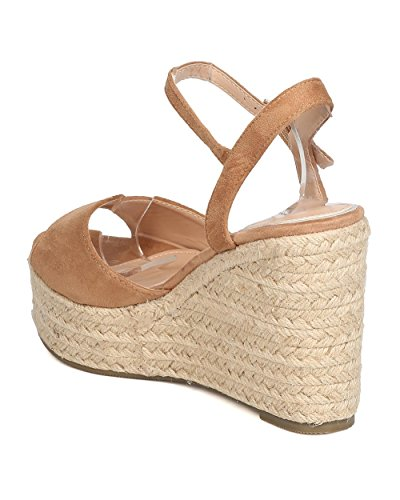 Wedge Platform Peep Beige by GC12 Spring Toe BETANI Wedge Dressy Women Espadrille Party Suede Faux wqzTpxXTI