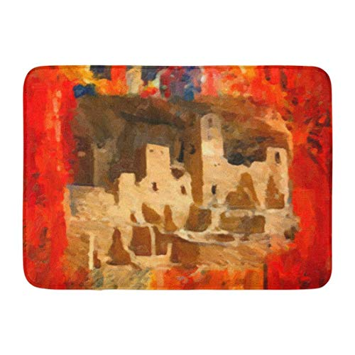 (casually Doormats Mesa Verde Adobe Cliffs Southwestern Mats Mat Floor Rug Indoor/Front Door/Bathroom Mats Rubber Non Slip 23.6