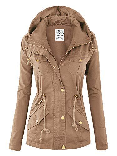Lock and Love WJC643 Womens Pop of Color Parka Jacket L Khaki (Zara Parka Jacket Women)