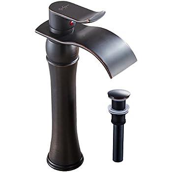 VIGO Linus Single Lever Vessel Bathroom Faucet with Pop Up, Antique ...