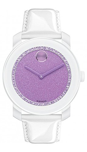 Movado Bold Lavender Dial Patent Leather Strap Ladies Watch 3600219