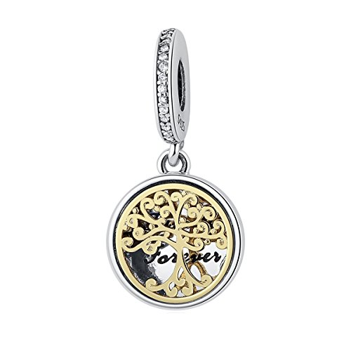 The Kiss Family Roots Trees & Engraved Family Forever 925 Sterling Silver Bead Fits European Charm Bracelet