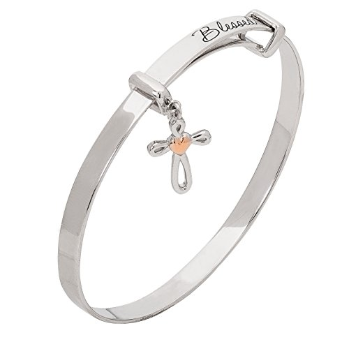 Hallmark Jewelry Baby & Girl's Sterling Silver Blessed Cross with Heart Adjustable Bangle Bracelet by Hallmark Jewelry (Image #2)