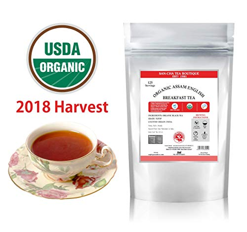 ORIGINAL English Breakfast Tea 2018 HARVEST (125 CUPS), USDA Organic Certified, Assam- Strong, Rich & Full Bodied, Sourced Direct from Plantations, Loose Leaf Tea 8.8 Oz, Single Estate