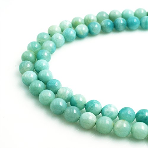 BRCBeads Natural Blue/Green Amazonite Gemstone Smooth Round Loose Beads 8mm Approx 15 Inch 50pcs per Strand For Jewelry Making