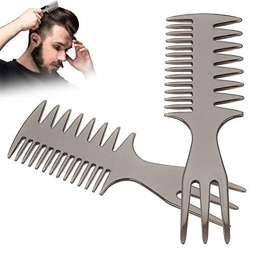 Peine para hombres, Dientes anchos y Herramienta de peluquería de horquilla para alisar bigotes y peinados con aceite(#2)