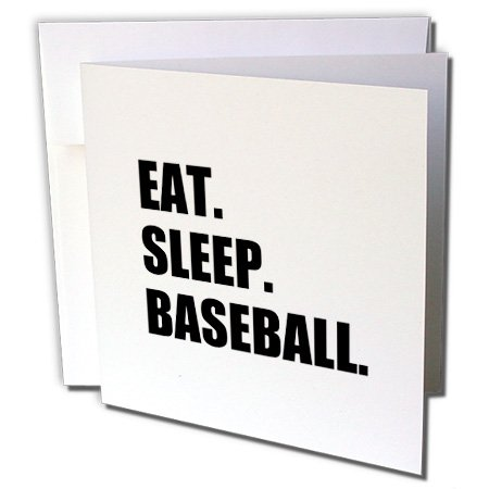 gc_180383_1 InspirationzStore Eat Sleep series - Eat Sleep Baseball - passionate about sport - sporty base ball game - Greeting Cards-6 Greeting Cards with envelopes