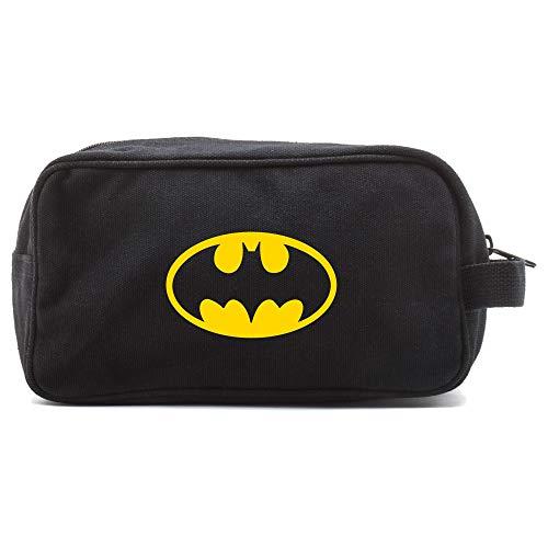 Batman Bat Symbol Canvas Shower Kit Travel Toiletry Bag Case in Black & Yellow ()