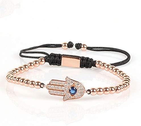 na 4 mm perles rondes en bronze bracelet en macramé tressage de haute qualité Hamsa main Style pendentif perles Cz