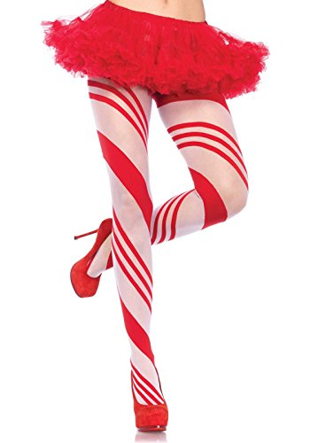 [Leg Avenue Women's Candy Cane Pantyhose, Red, One Size] (Candy Woman Costumes)
