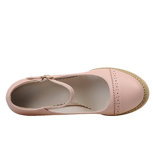 Amoonyfashion Dames Pu Hoge Hakken Ronde Dichte Teen Solide Gesp Pumps-schoenen Roze