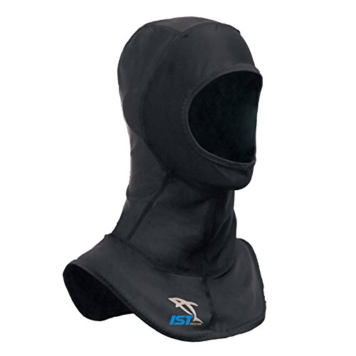 IST Lycra Spandex Diving Hood, Wetsuit Cap Head Cover with Bib & Anti Chafe Seams for Scuba Divers (Black, Small)