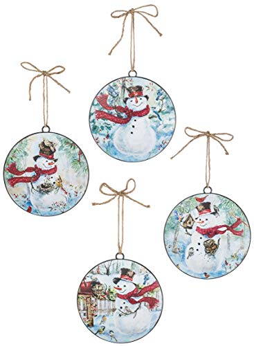 Sullivans Songs of The Season Snowman Metal Christmas Ornaments, Set of 12 in 4 Styles 6