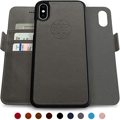 Dreem Fibonacci 2-in-1 Wallet-Case for iPhone X & Xs, Magnetic Detachable Shock-Proof TPU Slim-Case, Wireless Charge, RFID Protection, 2-Way Stand, Luxury Vegan Leather, Gift-Box - Grey