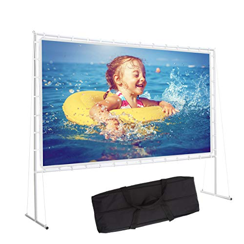Varmax Projector Screen with Stand 120 inch 16:9, Home Movie Screen with Foldable PVC Fabric and Transportable Full Set Bag for Backyard Outdoor Movie and Camping
