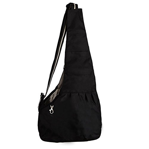 Mangadua Dog Cat Sling Carrier Pouch Bag Handbag for Small Medium Pet (Large, Black)