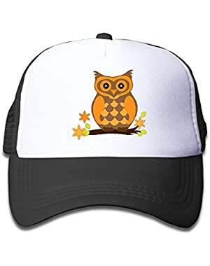 Boys&Girl Red Mesh Caps Trucker Baseball Hat Cartoon Owl On Broomstick