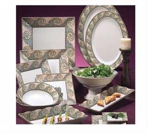 GET Enterprises inc Mosaic Melamine Square Plate, 14 inch - 6 per (Mosaic Melamine Square Plate)