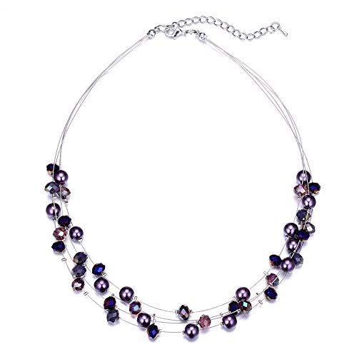 Bulinlin Layered Choker Freshwater Pearl Necklace - Fashion Jewelry Necklace Gifts for Women Girls Mom (16-Purple) (Freshwater Necklace Pearl Purple)