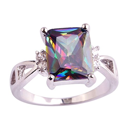Veunora 925 Sterling Silver Created Rainbow Topaz Filled Promise Engagement Ring for Women Size ()