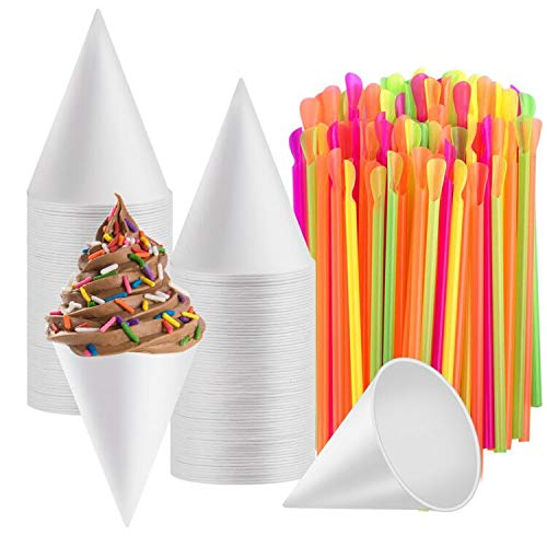 Disposable Snow Cone Cups, WXJ13 100 Piece 6 Ounce Shaved Ice Cups with 100 Piece Spoon Straws for Home Company Party