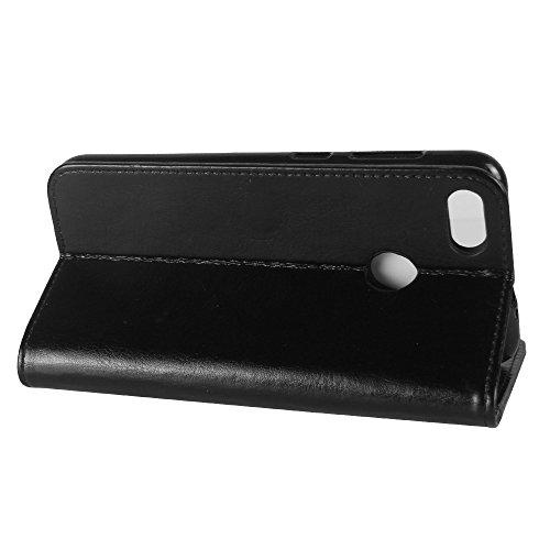 La cubierta de la caja de la cartera del teléfono para Huawei Enjoy 7. GOGME Huawei Enjoy 7 Flip Funda Funda para Teléfono, Premium PU Cartera de Cuero Conector para Celular, Celular Skin Poche Magnét negro