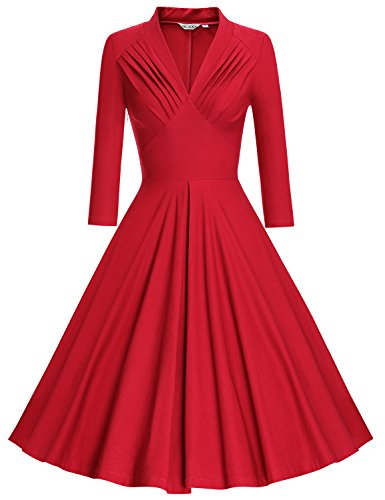 MUXXN Women's Vintage 3/4 Sleeve Bridesmaid Party Dress (XL, Red) ()