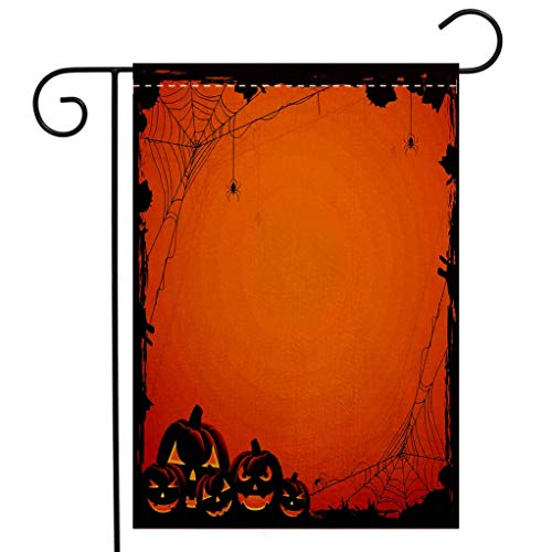Custom Double Sided Seasonal Garden Flag Halloween Decorations Grunge Spider Web Pumpkins Horror Time of Year Trick or Treat Orange Seal Brown Welcome House Flag for Patio Lawn Outdoor Home Decor
